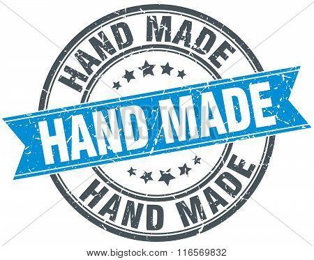 Hand Made Blue Round Grunge Vintage Ribbon Stamp