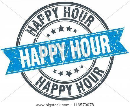 Happy Hour Blue Round Grunge Vintage Ribbon Stamp