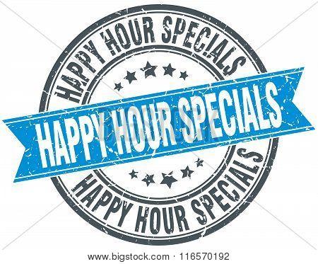 Happy Hour Specials Blue Round Grunge Vintage Ribbon Stamp