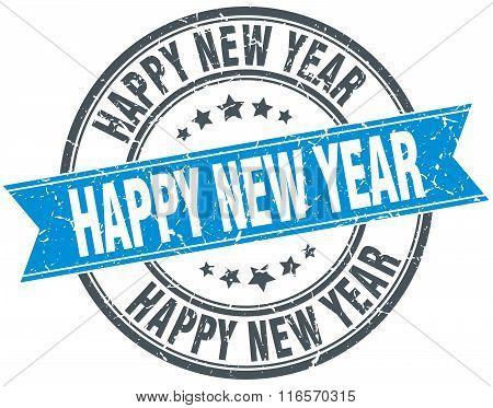 Happy New Year Blue Round Grunge Vintage Ribbon Stamp