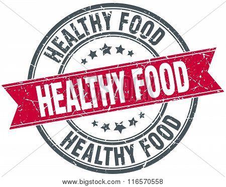 Healthy Food Red Round Grunge Vintage Ribbon Stamp