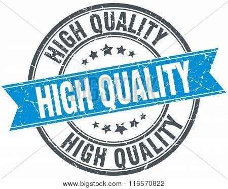 High Quality Blue Round Grunge Vintage Ribbon Stamp