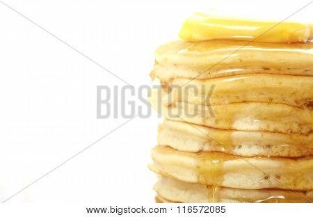 Stack Of Pancakes Closeup, With Copy Space.