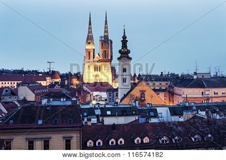Zagreb Cathedral And St. Mary's Church In Zagreb