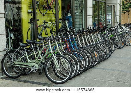 Rental Bicycles On Display