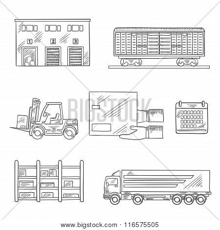 Delivery and storage service sketch icons