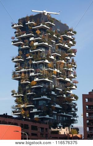 MILAN, ITALY - NOVEMBER 8, 2015: Bosco Verticale (Vertical Forest) residential tower in the Porta Nuova district in Milan, Lombardy, Italy.