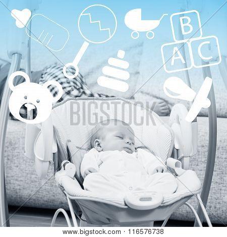 Newborn sleeping in baby swing