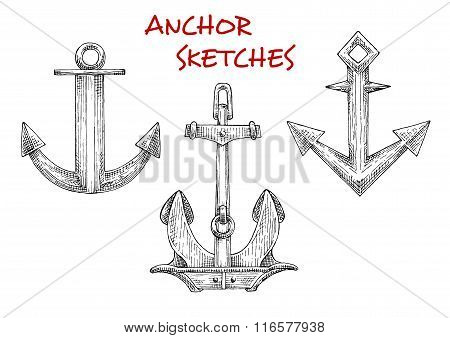 Sketches set of vintage boat anchors