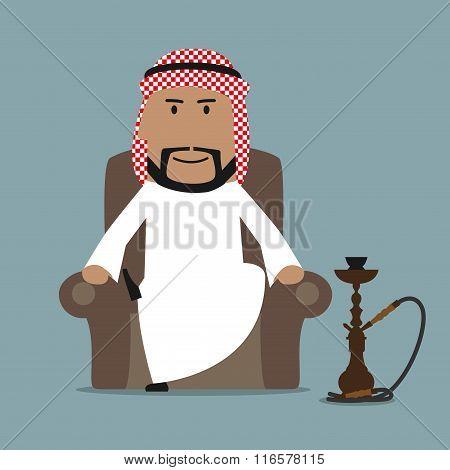 Arabian businessman relaxing with hookah