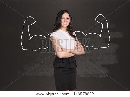 Business woman with drawn powerful hands