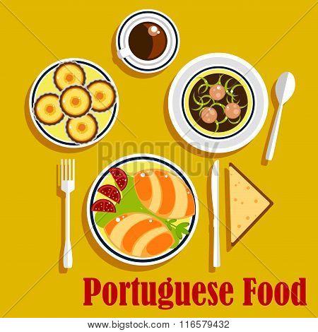 Portuguese cuisine empanadas, egg tarts and coffee