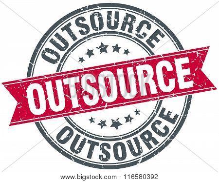 outsource red round grunge vintage ribbon stamp