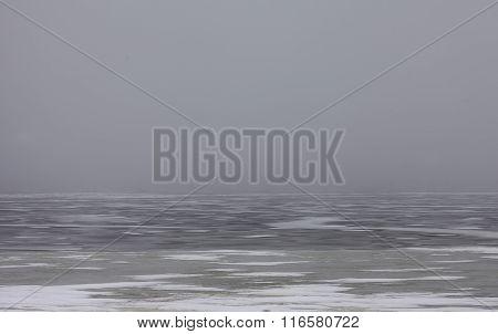 snowfield scenery on big lake