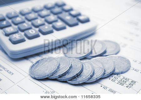 Business blue of financial items