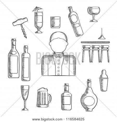 Bartender with alcohol and cocktails