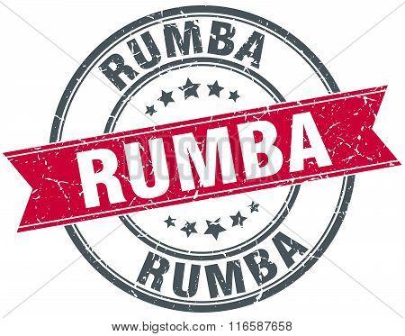 rumba red round grunge vintage ribbon stamp