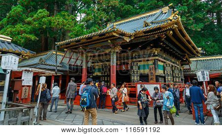 NIKKO JAPAN - NOVEMBER 17 2015: The final resting place of Tokugawa Ieyasu the first Shogun of the Tokugawa clan initially built in 1617. It's the most famous Toshogu shrine in Japan.
