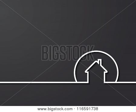 House Logo Design With Plase For Text. Vector Illustration
