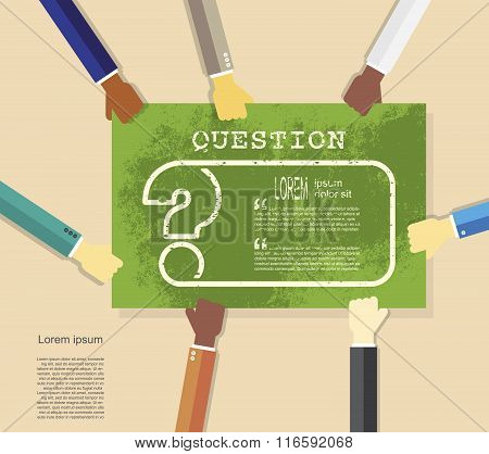 Hands Holding Poster With Question Mark. Help Symbol. Faq Sign
