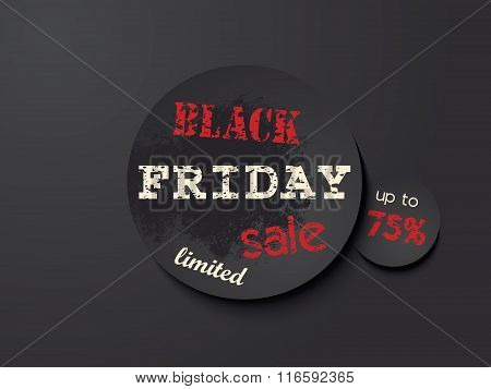 Black Friday Sale Black Round Banner Design Template, Vector Illustration