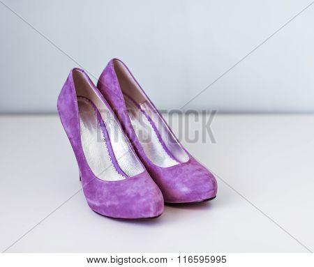 New purple velvet high heel shoes