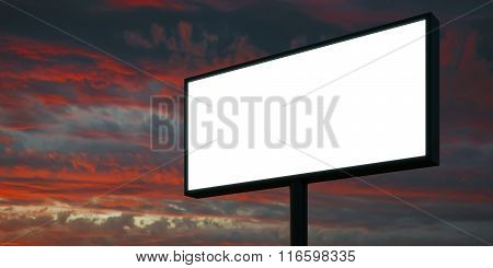 Blank billboard at sunset time ready for advertisement. 3d render