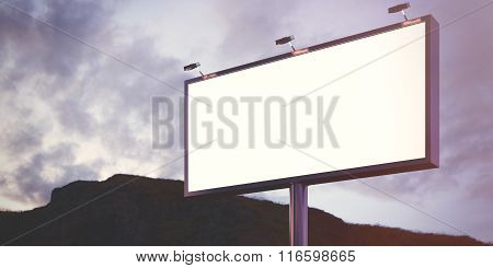 Blank billboard made of chrome metal at twilight ready for your advertisement. Flare effect. 3d rend