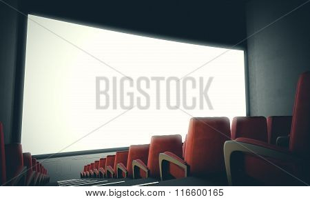 Empty cinema screen with red seats. With color filter,wide. 3d render