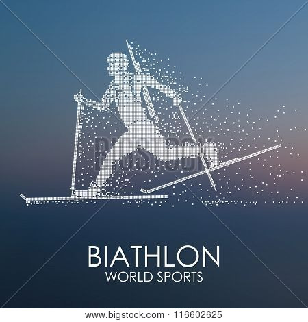 Sportsman running on skis with a weapon