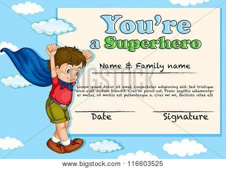 Certificate design with boy being superhero illustration