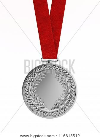 Blank Silver Medal With Ribbon For Second Place