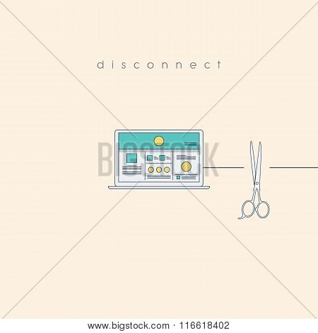 Disconnect concept with computer and cut wire by scissors. Unplugged technology abstract background.