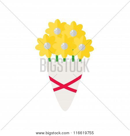 Bouquet isolated icon on white background.