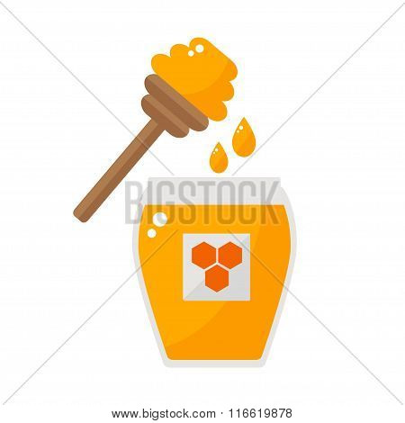 Honey jar with honey spoon isolated icon on white background.