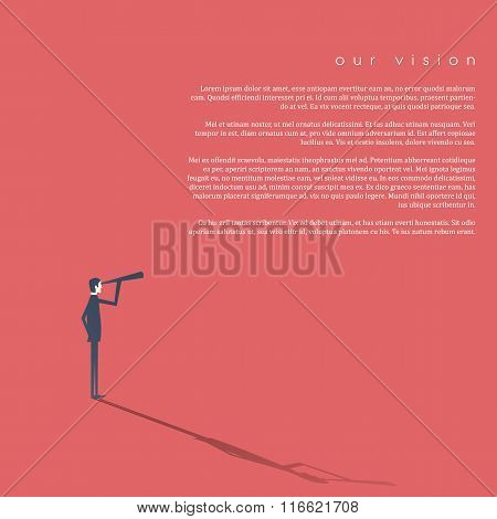 Businessman looking through monoculars as a symbol of business vision, plan, strategy. Abstract vect