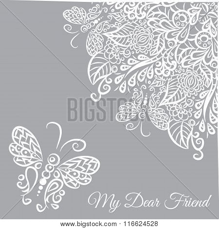 Vector Card. Grey Background And White Ornament.