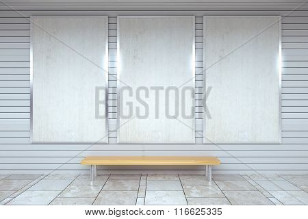 Blank White Posters On The Wall In Empty Subway With Wooden Bench On The Floor, Mock Up