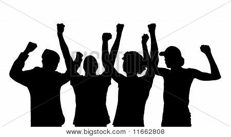 Silhouette Of Cheering People