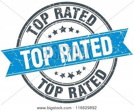 Top Rated Blue Round Grunge Vintage Ribbon Stamp