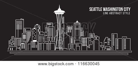 Cityscape Building Line Art Vector Illustration Design - Seattle Washington City
