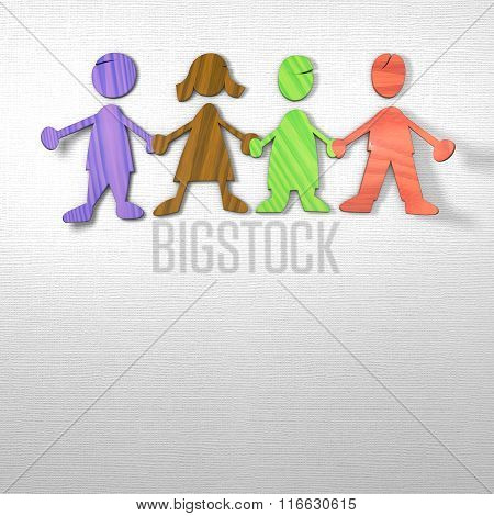 Kids Holding Hands On Paper Structured Background
