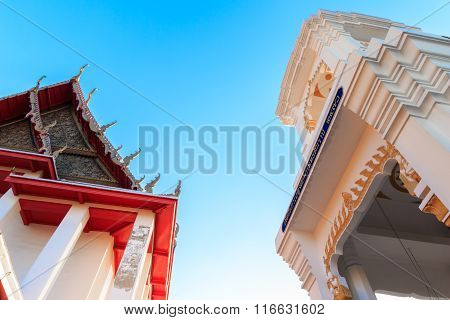 Thailand Style Belfry, Thai Bell Tower Temple in Wat Kalayanamitr Varamahavihara, Bangkok, Thailand
