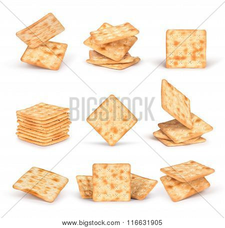 The Set Of Square Crackers With Shadow Isolated On White Background
