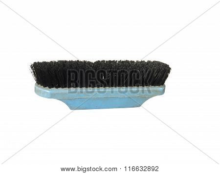 Old Clothes (or Shoe) Brush With Plastic Handle Isolated On The White Background