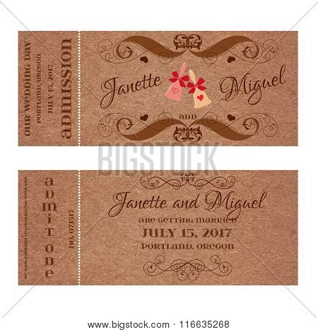 Ticket for Wedding Invitation with elegant wedding bells