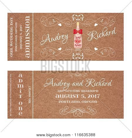 Ticket for Wedding Invitation with wedding bottle of champagne