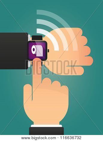 Hand Pointing A Smart Watch With A Toilet Paper Roll