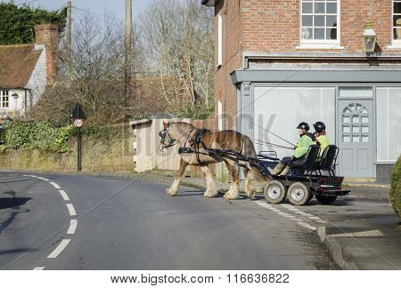 Modern Horse And Carriage On A Village Road