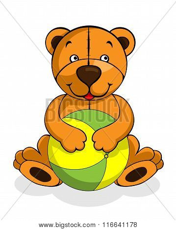 Toy teddy bear baby smiling, happy play with ball